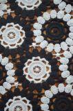 Tela nova do laço do poliéster da forma com teste padrão colorido preto e branco do bordado