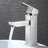 Faucet do dissipador da bacia da alavanca do aço inoxidável do quadrado da economia da água único