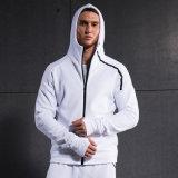 白いメンズスポーツHoodiesのHoodieのジャケットのファスナーを締めなさい