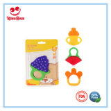 Silicone Baby Teether Rattles Brinquedos com Lovely Fruit Shape