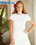 Le donne 100% del cotone di Gildan 180g mettono le magliette in cortocircuito normali del manicotto