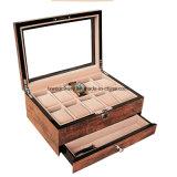 Caixa de presente de madeira do indicador dos relógios do revestimento antigo do piano de Brown