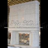 Cheminée blanche Mfp-176 de Carrare de cheminée en pierre de marbre de granit