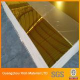 Лист золотистого зеркала акриловый/пластичный лист зеркала плексигласа PMMA
