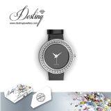 Het Kristal van de Juwelen van het lot van het Elegante Horloge van het Leer Swarovski