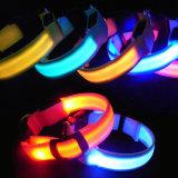 夜安全LED点滅の白熱ナイロン飼い犬カラー