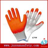 Luva revestida do revestimento do algodão das luvas do látex do PVC do nitrilo (LPN)