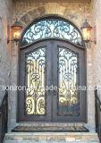 Bearbeitetes Eisen-Eintrag-Tür-Entwurf mit ausgeglichenem Glas