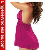 Lacet séduisant de rose de framboise et lingerie sexy de Babydoll de Halter de maille pour des femmes