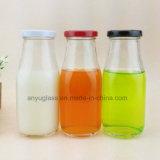 Glasflaschen für Milch, Getränk, Wasser-Saft mit Abziehbild