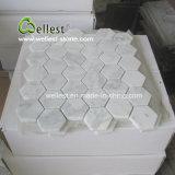 El azulejo de mosaico de mármol blanco con muchos diseña
