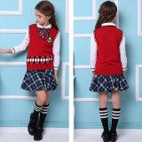 La alta camisa del chaleco del juego de los uniformes escolares de las muchachas menores y mayores se divierte los uniformes