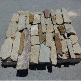 中国の自然なゴマの黄色の混合された錆ついた珪岩の緩い石塀のパネル(SMC-FS048)