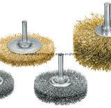 Escova de fio de aço circular da potência com eixo
