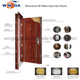 Porte extérieure de fer de couleur de la CE en métal en acier noir de garantie (W-S-137)