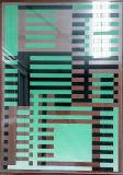 Перегородка искусствоа закалила свернутое зданием искусствоо окна двери опарника краски картины пузыря стеклянное декоративное