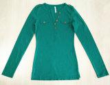T-shirt profundo magro das mulheres da V-Garganta da cor dos doces