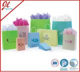 Sacs en papier blancs de Papier d'emballage estampés par FSC empaquetant des sacs avec le traitement