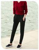 Reiner Kaschmir, der beiläufige Hosen mit Taschen und elastisches Taillen-Band für Damen strickt