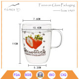 tazza di vetro del tè della tazza del caffè su ordinazione 400ml con la maniglia