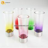 Taza de cristal del tirador del vidrio de tiro del color con con base metálica para el partido