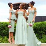 Очаровывающ линию платье Bridesmaid длины колена планок спагеттиа шеи шлюпки серое (HS110)