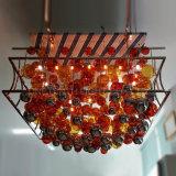 Kundenspezifischer Schlag-Glaskugel und Leuchter des Stahlrahmen-LED am Funktions-Raum