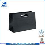 Bolsa de papel negra brillante impresa aduana con las manetas