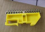 trilho de 35mm que monta o bloco terminal