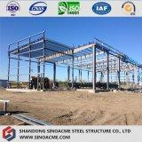 Структура стальной рамки для пакгауза с плоской крышей