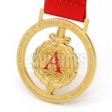 習慣あなた専有物名誉の多彩で赤いリボンが付いているデザイン名誉の金属の金のスポーツの円形浮彫りメダル