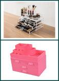 4 - Doos van de Vertoning van de Lade de Duidelijke/Roze Acryl Kosmetische