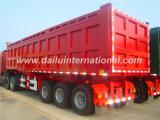 3 het Rode Achtergedeelte die van assen Semi Aanhangwagen (de aanhangwagen van de kipper) dumpen voor Zware Vervoer van de Lading