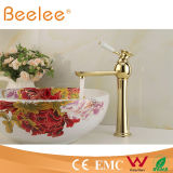 Ceramic Lever Handle Ql14028hgの熱いGold Palted Single Lever Handle Vessel Faucet