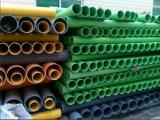 Труба водопровода PVC желтого зеленого цвета померанцовая