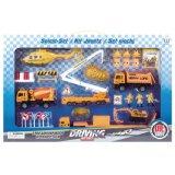 Metallhubschrauber-Boots-Polizeiwagen-Feuer-Aufbau-LKW-Spielzeug-Set