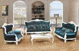 Sofá clássico do couro de madeira moderno da sala de visitas (UL-NSC097)