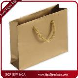Bolsa de papel reciclada en blanco laminada totalizador euro de Brown Kraft del bolso de compras del papel de la maneta con la maneta para el regalo