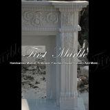 Cheminée blanche Mfp-428 de Carrare de granit en pierre de marbre extérieur