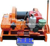 Alzamiento del motor diesel para tirar del cable con el freno de mano