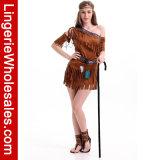 Der Frauen ein Schulterminikleid-Kostüm der faux-Leder eingesäumtes freier Spiritus-Prinzessin-Indian