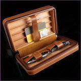 L'humidificateur en cuir de cigare de cas de Cohiba comprennent les ciseaux de cigare et les allumeurs (ES-CA-011)