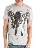 Le noir Sprinted T-shirt gris fait sur commande d'hommes de Hotsale de coton de mode