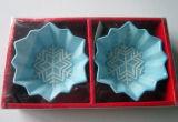 Ramekins en céramique peints à la main de flocon de neige de Serveware de Noël réglés (GW1277)