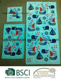 100%年の綿Woven Fibre Reactive Printed Velour Towel Set - SailboatsおよびWhales
