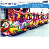 O trem elétrico dos desenhos animados dos parques das crianças caçoa os brinquedos do jogo (HD-10302)