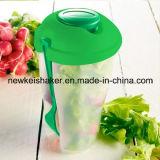 Copo plástico barato da salada com o copo da forquilha e do molho