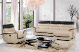 Sofá de la sala de estar con el sofá moderno del cuero genuino fijado (443)