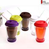tazza di caffè di vetro doppia di disegno di modo 350ml con la protezione del silicone/parte inferiore/tazza di vetro doppia di vetro doppia della tazza di tè/Starbuck