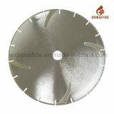 Lámina de corte segmentada de diamante galvanizado con nervadura de refuerzo para granito